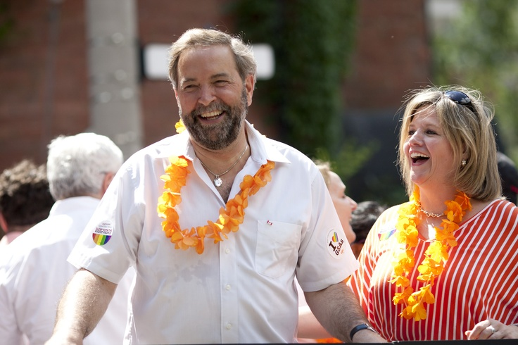 Andrea Horwath and Thomas Mulcair celebrate Pride in Toronto