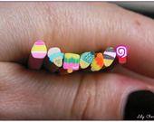 x7 Cane fimo millefiori glaces gourmandises kawaii 5cm : Pâtes polymères et accessoires par lilycherry