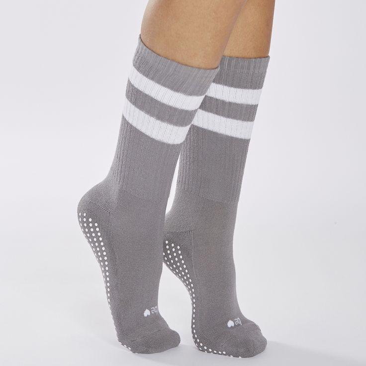 sticky be socks - CREW Be Love Grip Socks (Dark Grey/White), $18.00 (http://stickybesocks.com/socks/crew-be-love-grip-socks-dark-grey-white/)