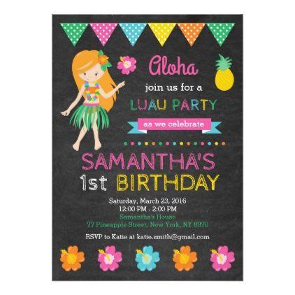 Hawaiian Luau Birthday Invitation - invitations personalize custom special event invitation idea style party card cards