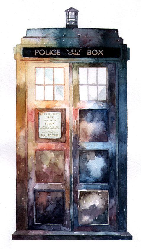 TARDIS watercolour ... stunning ... #doctorwho #fanart #watercolor