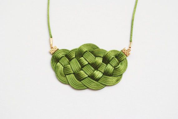 Forest green and gold sailor knot necklace by elfinadesign on Etsy