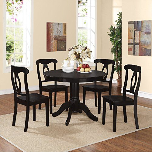 Traditional height 5-piece dining set 5-piece set includes 4 Napoleon-style chairs and 1 round pedestal table Black pedestal table top with beveled edge