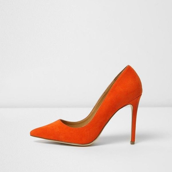 River Island Orange faux suede court shoes ($43) ❤ liked on Polyvore featuring shoes, pumps, orange, shoes / boots, women, river island, faux suede shoes, stiletto heel shoes, orange high heel shoes and pointed toe stilettos