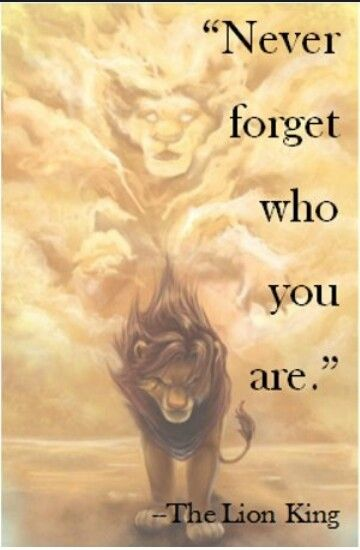 30 day Disney challenge Day 21 Favorite Quote... Never forget who you are the lion king