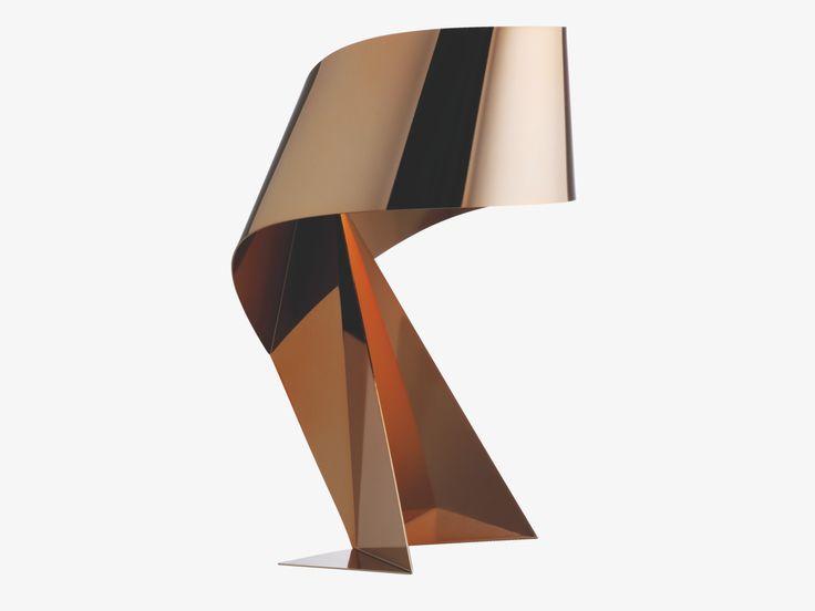 RIBBON GOLD Metal Copper small table lamp - HabitatUK