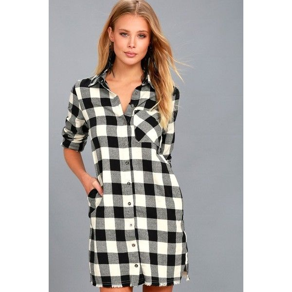 Lulus  Neck of the Woods Black and White Plaid Shirt Dress featuring polyvore, women's fashion, clothing, dresses, black, collared shirt dress, shift dress, print shift dress, lulus dress and long sleeve loose dress