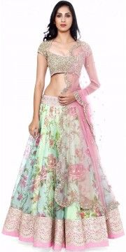 Marvelous Green And Pink Net Designer Lehenga With Dupatta.