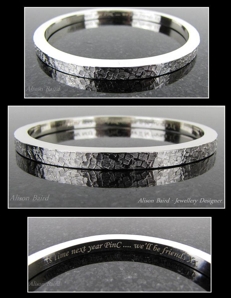 Raw Silk sterling silver bangle.