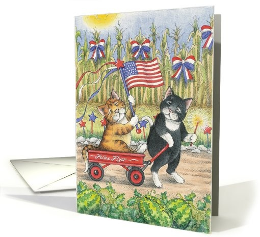 Cats 4th Of July #Parade Greeting Card