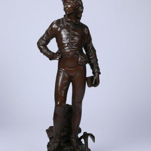 "CHARLES ANFRIE  Epoque : 1870 Dimensions : H. 70cm. L. 21cm. application.product.price :    ""The youth of Christopher Colombus"" Bronze sculpture with brown patina, late 19th century, artist's signature on the base"