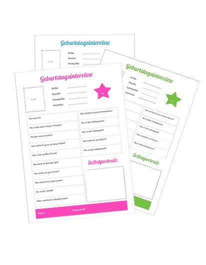 Was für eine tolle Idee für einen Kindergeburtstag! Jedes Jahr ein Geburtstagsinterview mit dem Kind führen und sammeln = eine persönliche Erinnerung an die Kindheit. :-) Kostenlos downloaden auf: www.kinderparty-portal.de 0 €