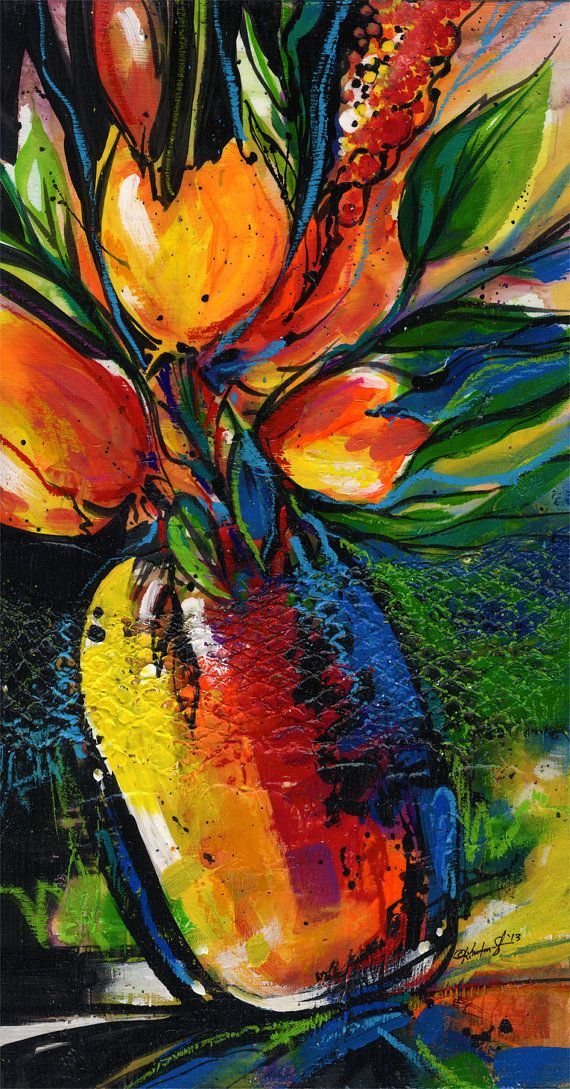 Floral Fantasy .. 17 ... Original mixed media painting by Kathy Morton Stanion