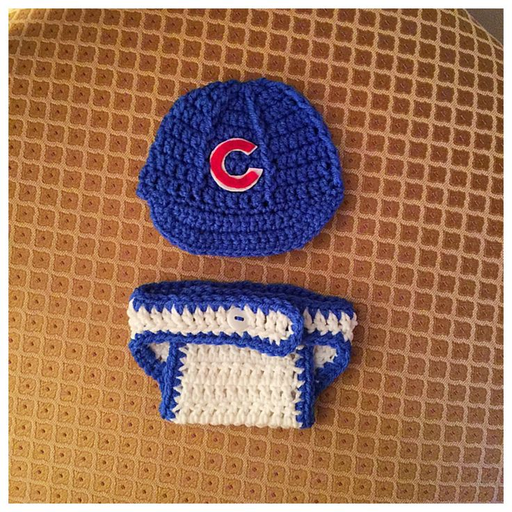 Crochet Cubs Hat and Diaper Cover Photo Prop Set..Newborn to 3 Months by CrochetByJanisForYou on Etsy https://www.etsy.com/listing/477407488/crochet-cubs-hat-and-diaper-cover-photo