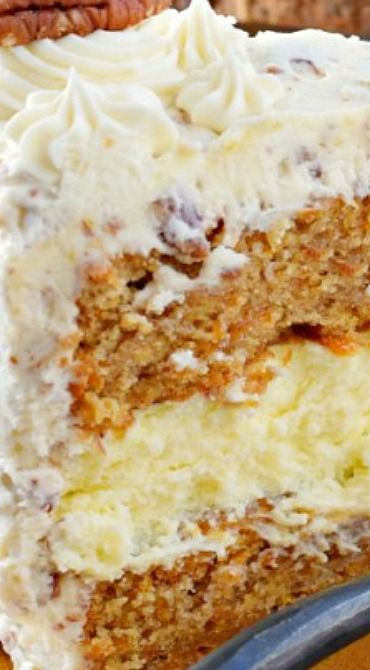 Homemade Carrot Cake Cheesecake Cake with Cream Cheese Frosting