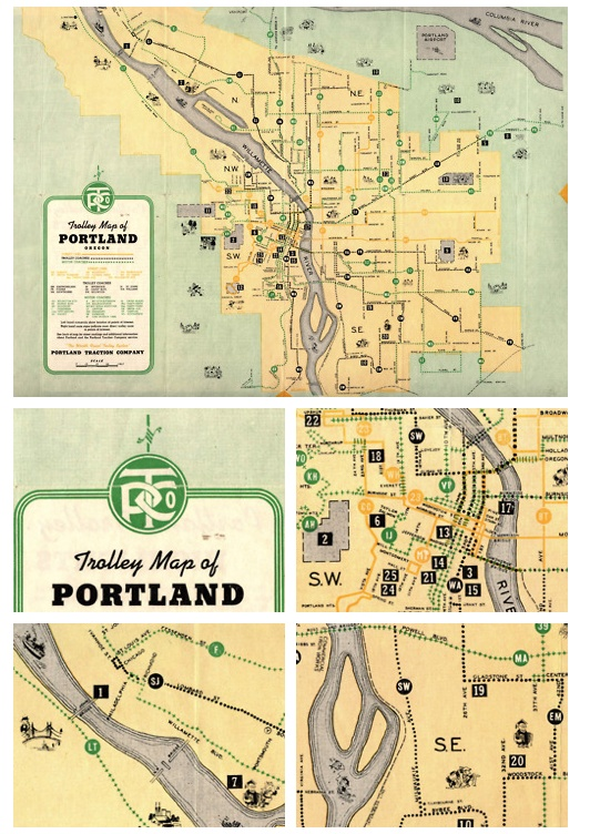 Historical Map: Trolley Map of Portland, Oregon, 1943    It's been a while since Transit Maps featured an historical map, so here's one from my city of Portland, Oregon. This charming map was produced by the Portland Traction Company in 1943: check out their nifty monogram in the photo set.
