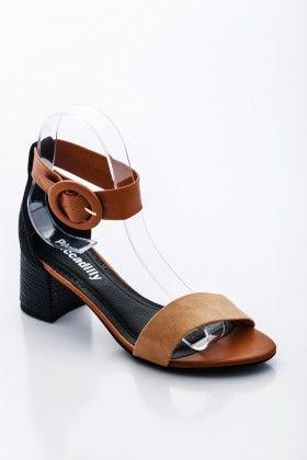 Barna-fekete Piccadilly comfort Női Magassarkú szandál