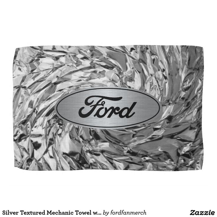 Ford Motor Company Silver Mechanics towel. Silver Textured Mechanic Towel with Ford Logo. For the mechanic that loves Ford racing, Ford cars, and Ford trucks