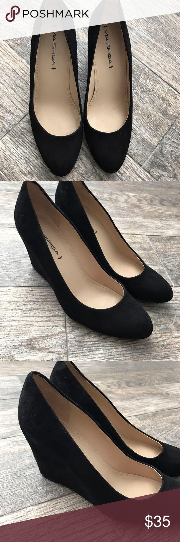 "VIA SPIGA Farley Wedge Pump VIA SPIGA Farley Suede Wedge Pump. 3"" covered wedge heel. Very comfortable wedge heels! Normal wear and tear. Still lots of life in them. Via Spiga Shoes Heels"