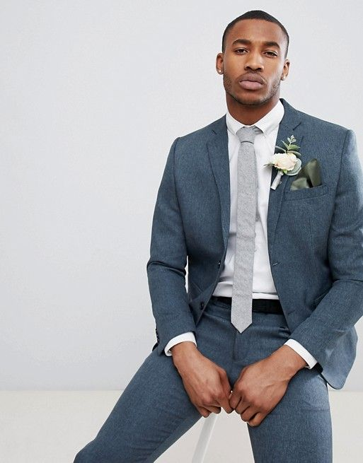 bc8272da09b6e boohooMAN Wedding Slim Fit Suit Jacket In Navy in 2019   Weddingscape    Blue suit wedding, Wedding suits, Wedding men