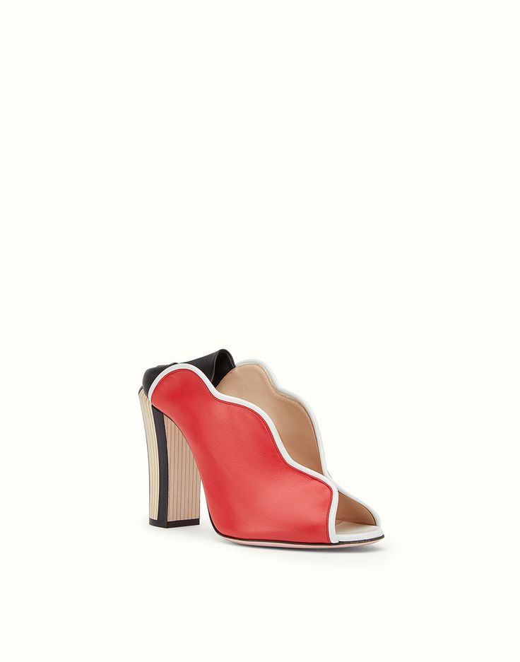FENDI SANDALO - Mule open toe in pelle rossa