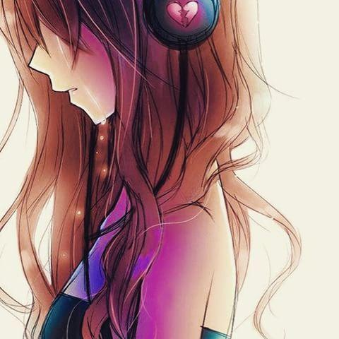 anime sad girl headphones music awesome grunge