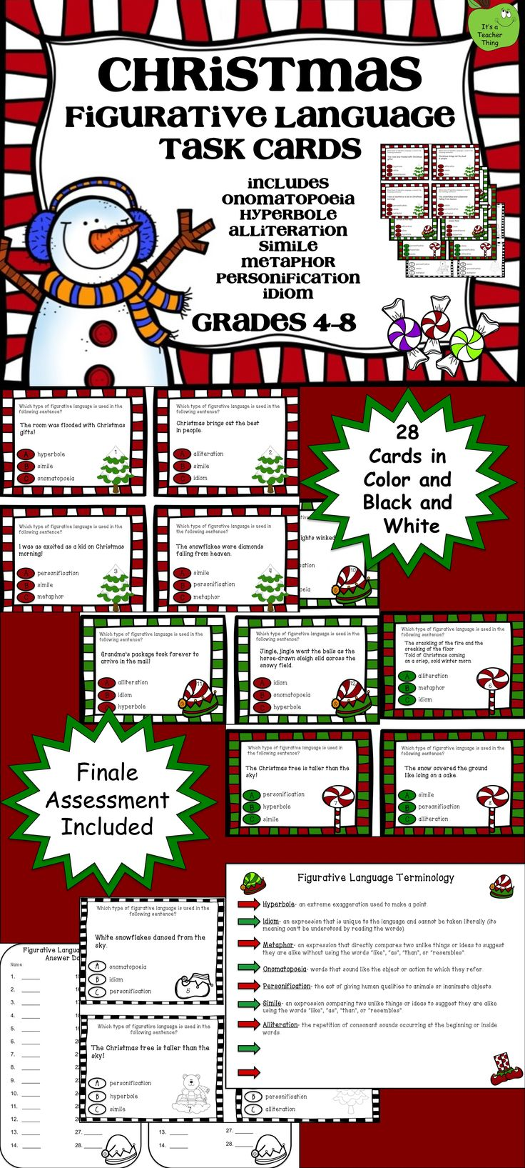 christmas figurative language task cards a well activities and language. Black Bedroom Furniture Sets. Home Design Ideas