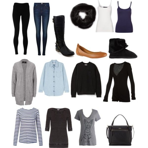 Winter Weekend Trip Packing List. Makes outfits for shopping and restaurants, but also for lazing about inside.