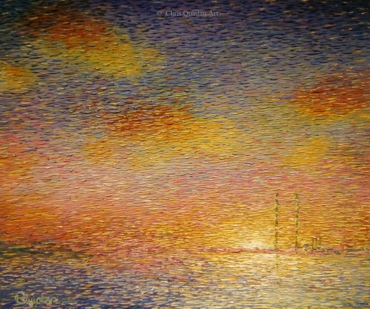 "Impressionist Sunset painting by Chris Quinlan Art. 24"" x 20"" oil on canvas."