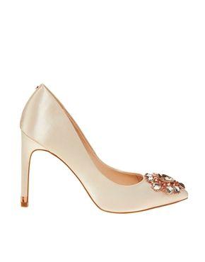 Ted Baker Torela Nude Satin Embellished Heeled Shoes