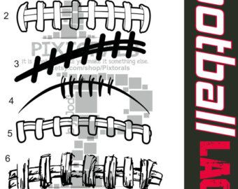 Football Clip Art Laces Athletic font with crosshatch by Pixtorals