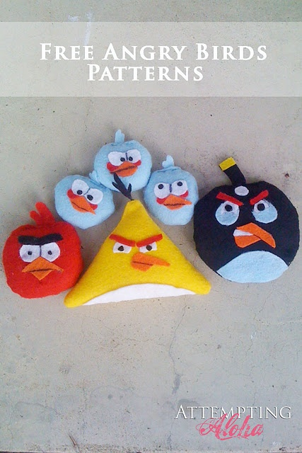 Free Angry Birds patterns for small bean bags - easy peasy and SO cute!