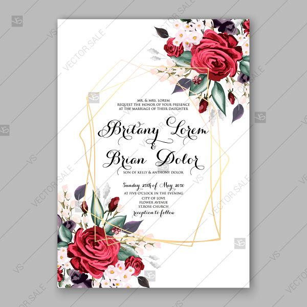 Burgundy Dark Red Peony Wedding Invitation Watercolor Vector