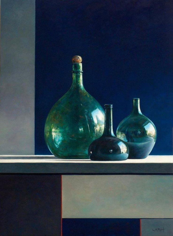"""Prachtige compositie met glas in """" A touch of red"""" van Lion Arie Feijen, stilleven in olieverf op paneel, 70 x 50 cm. Te zien bij Galerie Honingen in Gouda"""