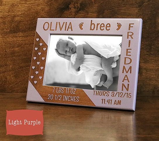 Baby Picture Frame-Personalized Birth Announcement by GiftedOak