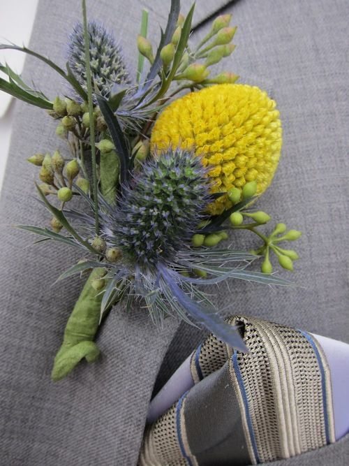 Blue Thistle Billy Ball Boutonniere Wedding Flowers