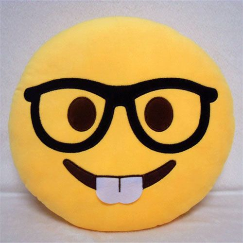 cool Nerd face with glasses Emoji Pillow