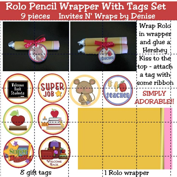Adorable Rolo pencil wrapper and tags - print right from your own computer
