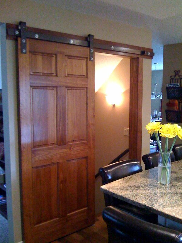 6 Panel Pine Stained Dark On A Barn Door Hardware Track