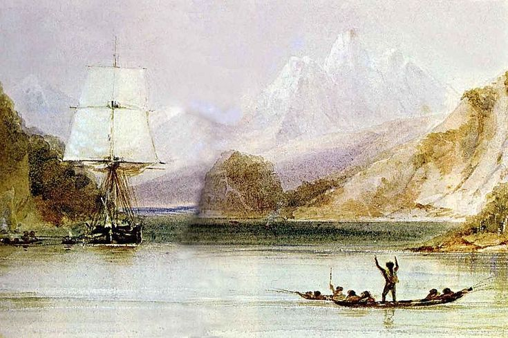 HMS Beagle in the seaways of Tierra del Fuego, painting by Conrad Martens during…
