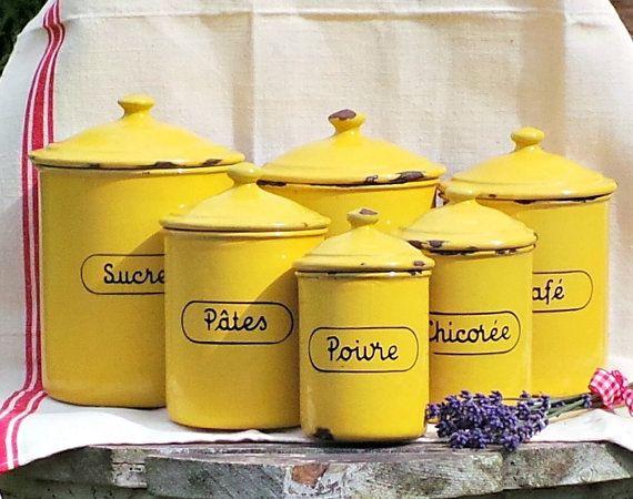 Yellow Enamel Kitchen Canisters Vintage By LaVieNostalgique, U20ac145.00
