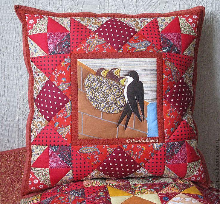 """Купить Лоскутная подушка """"Под крышей дома моего"""" - подушка, лоскутная подушка, подушка декоративная"""