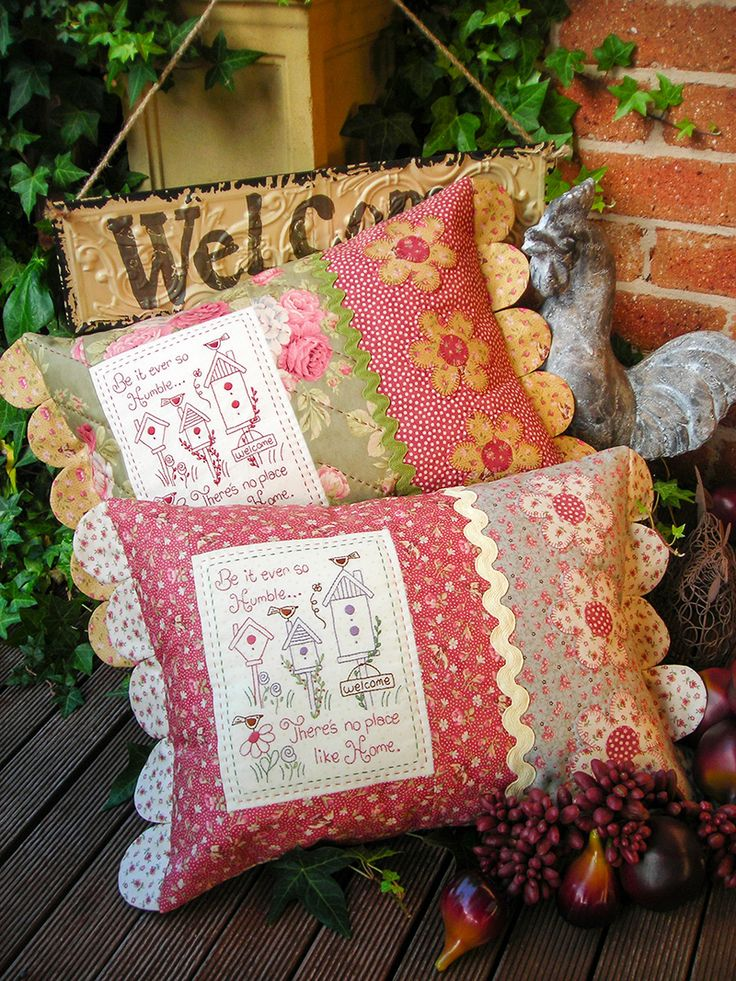 """""""Humble Home"""" by Sally Giblin of The Rivendale Collection. Verse reads: Be it ever so humble... There's no place like home. Finished cushion size: 14½"""" x 24"""" #TheRivendaleCollection stitchery, appliqué and patchwork patterns. www.therivendalecollection.com.au"""