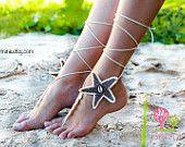 Da Starfish Seashells Tan e Crochet avorio nuziale spiaggia a piedi nudi sandali, scarpe Nude, piedi gioielli, scarpe da sposa, Sexy, Yoga, cavigliera