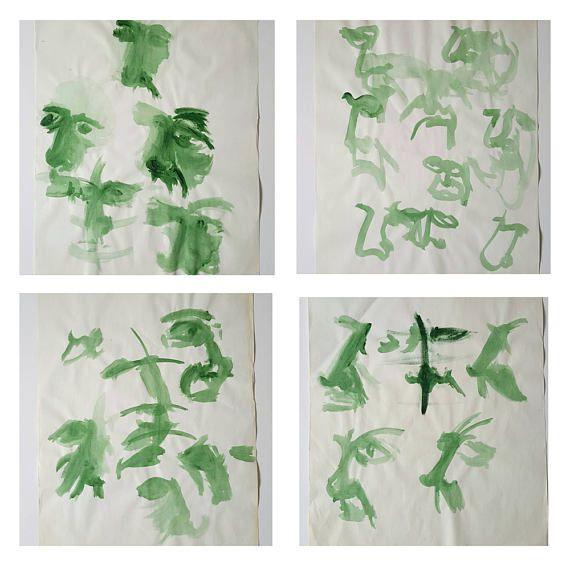 Original studies on paper, 50 x 70cm. acrylic green, portrait, green living, green interior, original art