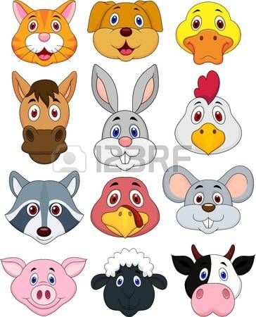 Animal head cartoon set Stock Vector