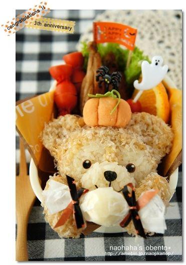 今日はmomoチャン にささげるお弁当デス。 先日、かわいいっプーさんのハロウィンのお礼弁当を頂いちゃったので (記事はコチラ→☆ ) ハロウィ…