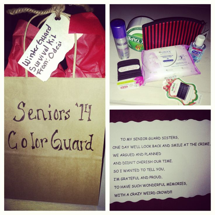 Senior's Color Guard Gift: white strapping tape,bobby pins, hair ties, make-up remover, hairspray and make-up bag.