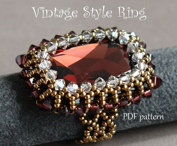 Beaded Ring Tutorial  Vintage Style Ring  par MilleGioiediSidonia, €6.50