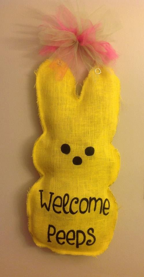 Burlap Easter Bunny Peep Door Hanger On Etsy 3000